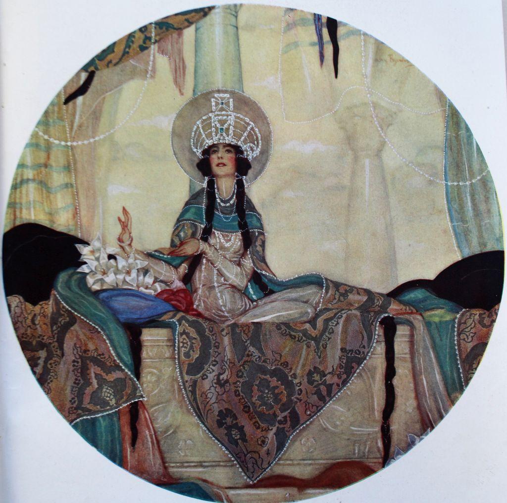 """Aleksander Rzewuski. Portret lady Michelham, ilustracja na wklejce w tygodniku """"Świat"""" z 1924 r."""