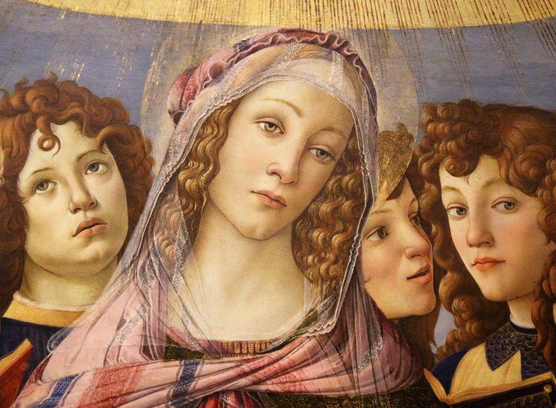 Alessandro Botticelli. Madonna z granatem 1487. Florencja. Galleria degli Ufizzi. Pełna smutku twarz Madonny przewidującej przeznaczenie swego Syna. Fot. Jerzy S. Majewski