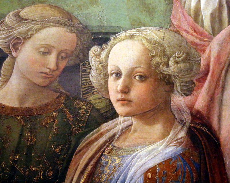"""Filippo Lippi. Głowa kobiety na fragmencie obrazu """"Koronacja Marii"""" z 1465 r. Florencja Galleria degli Ufizzi. To u tego malarza, karmelitanina uczył się Sandro Botticelli. Fot. Jerzy S. Majewski"""
