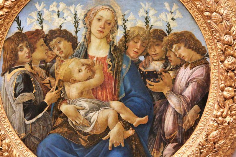 Sandro Botticelli. Madonna Raczyńskiego. Tondo, ok 1477. Berlin, Gemäldegalerie. Fragment obrazu. Fot. Jerzy S. Majewski.