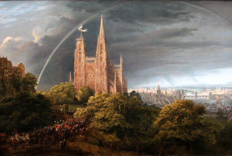 Berlin. Nationalgalerie. Karl Friedrich Schinkel. Widok gotyckiego miasta nad rzeką. 1815. Fot. Jerzy S. Majewski