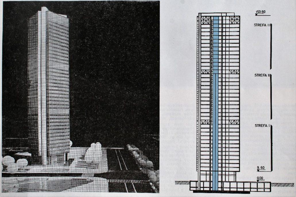 """Warszawa. Projekt wieżowca Mostostalu. .Widok wieży od strony południowej i jej przekrój. Il. Wg. """"Architektura"""" 1974"""