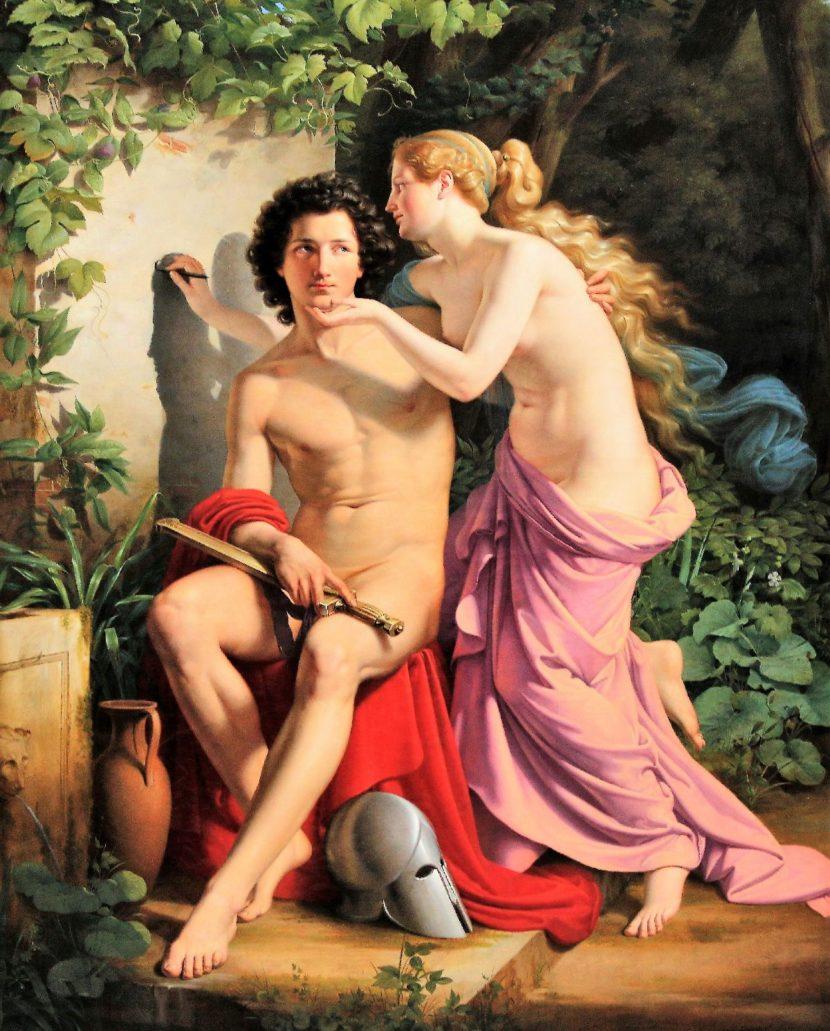 """Eduard Daege. """"Wynalezienie malarstwa"""" 1832. Berlin Alte Nationalgalerie. Fot. Jerzy S. Majewski"""