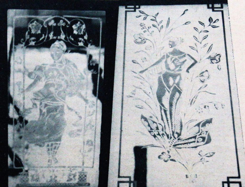"""Warszawa. Nieistniejące już szyby z klatek schodowych warszawskich kamienic. Z lewej Sylfida, z prawej Elfica na motylu. Il. Wg """"Kino"""" 1939, nr 13"""