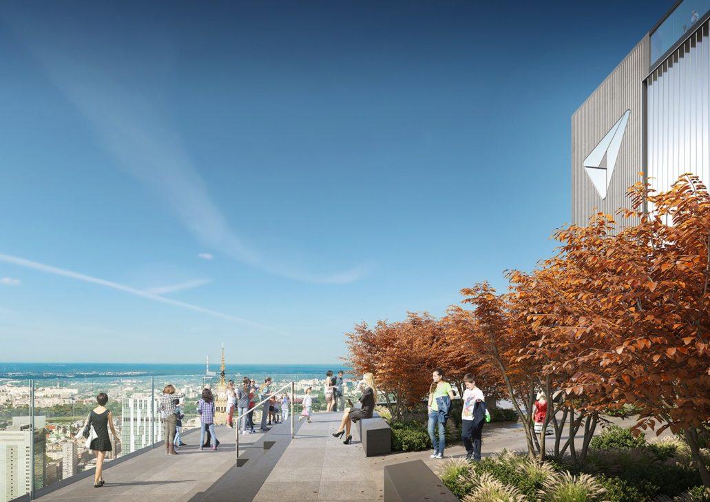 """Warszawa. """"Varso Tower"""". Projekt Foster & Partners. Brak placu czy innej przestrzeni publicznej w poziomie ulicy inwestor zamierza zrekompensować tarasem na dachu. Rozwiązanie efektowne na wizualizacjach, zazwyczaj w życiu realnym rozczarowuje. Materiały inwestora"""