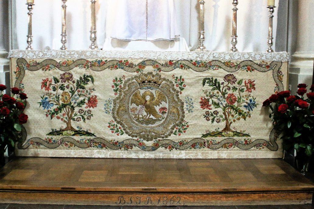 Warszawa. Kościół Wizytek. Antepedium z Pelikanem. Po 1664 r. Przerabiane w XVIII w. Fot.: Jerzy S. Majewski.