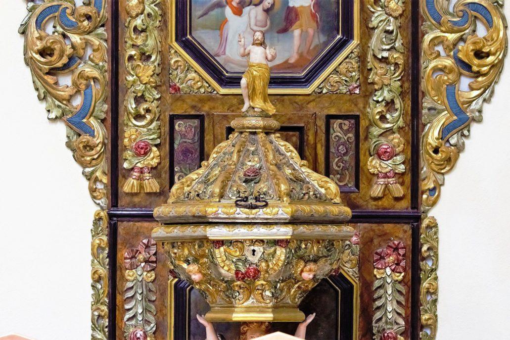 Żarnowiec. Kościół. Fragment XVIII-wiecznej chrzcielnicy. Fot. Jerzy S. Majewski