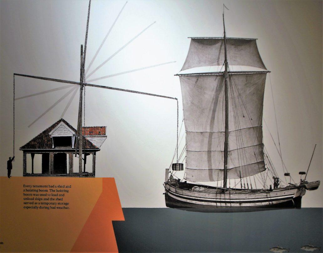 Bergen, Bryggen, Finnegarden 2a, Muzeum Hanzeatyckie (Det Hanseatiske Museum) Część ekspozycji muzealnej na parterze. Fragment planszy z rzutem drewnianej zabudowy. Rysunek schematyczny żurawia do przeładunku statków. Przy Bryggen od strony nabrzeża każdy dom hanzeatycki miał takie urządzenie. Obok stała wiata.