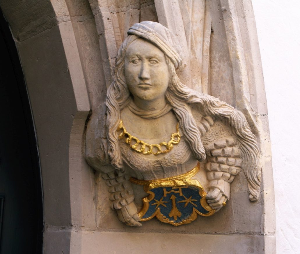 Görlitz. Brüderstraße. Głowa kobiety z gotycko-renesansowego portalu z 1566 r. Fot. Jerzy S. Majewski