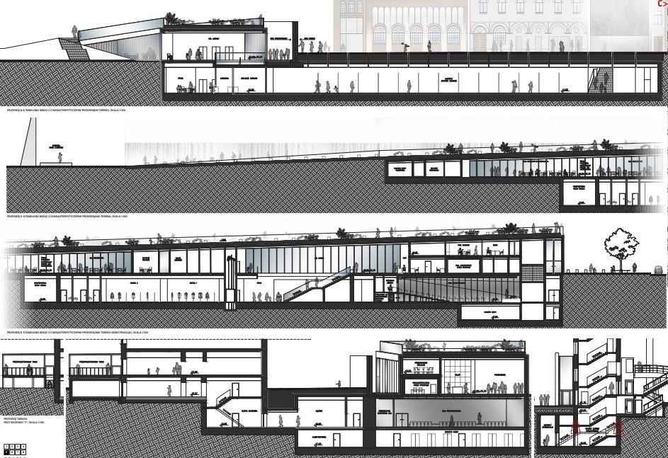 """Warszawa. Muzeum Powstania Warszawskiego. """"Nizo Design International Mirosław Nizio"""" Przekroje planowanego pawilonu. Materiały Muzeum Powstania Warszawskiego."""