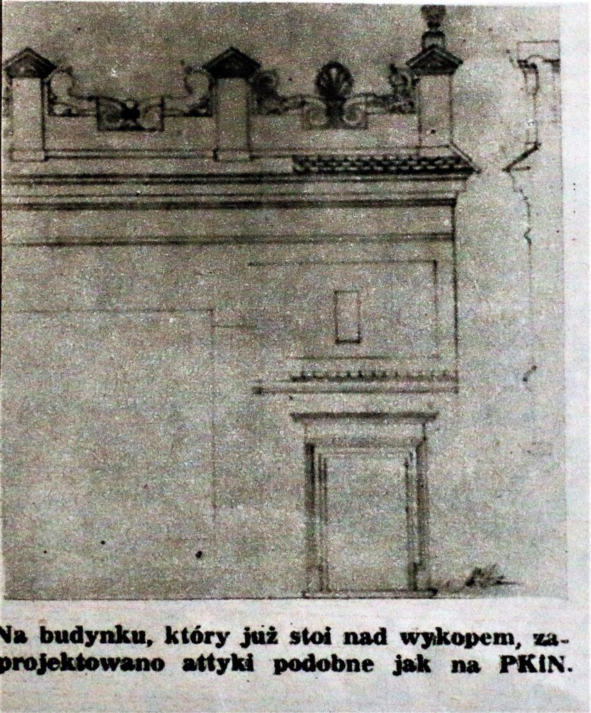 """Warszawa. Projekt renesansowej attyki dla bloku przy Chmielnej 35. Il. Wg """"Stolica"""" 1955, nr. 19, s. 5."""