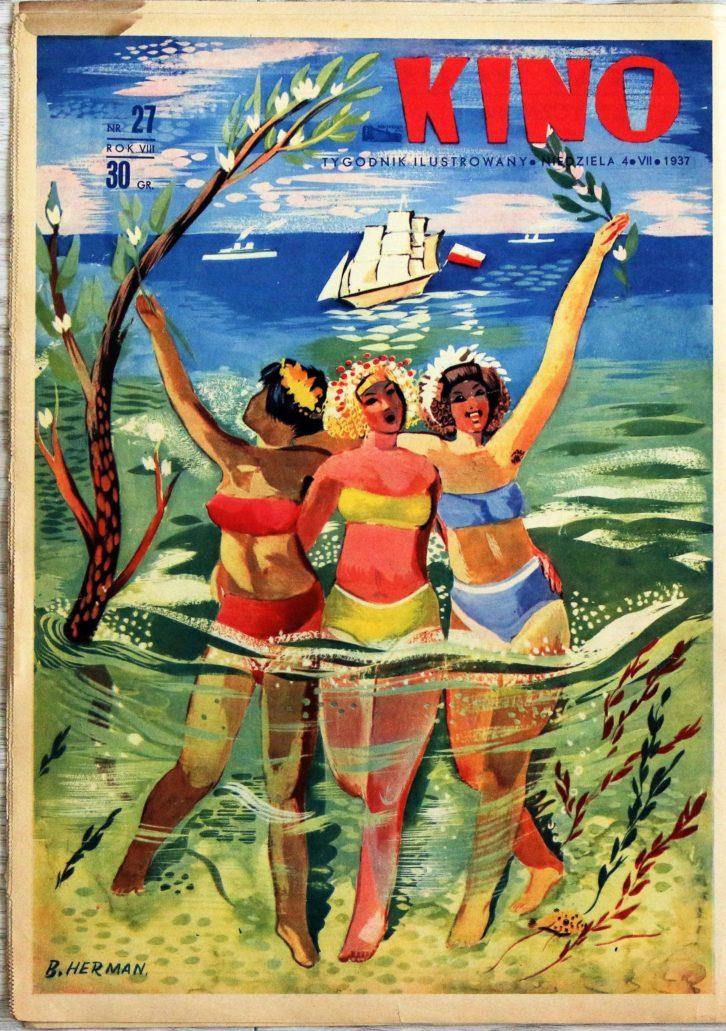 """Okładka tygodnika """"Kino"""" z lipca 1937 r. przygotowana z okazji Święta Morza, hucznie obchodzonego w międzywojennej Polsce."""