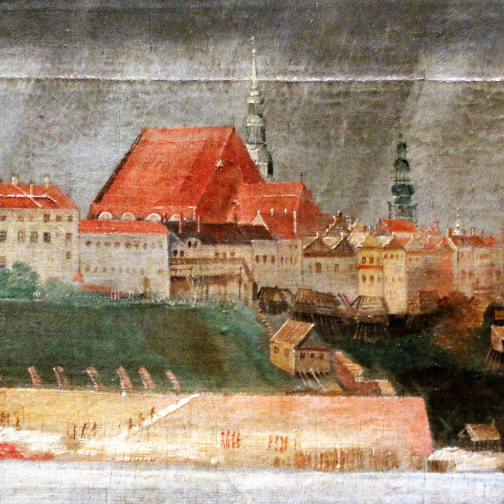 Warszawa. Kolegiata św. Jana w 1620 r. wciąż była budowlą gotycką. Fragment panoramy Warszawy pędzla Chrystiana Melicha z ok. 1625 r., eksponowanej na wystawie na Zamku Królewskim, a pochodzącej z Bayerische Staatsgemaldesammlungen – Alte Pinakothek w Monachium. Fot. Jerzy S. Majewski