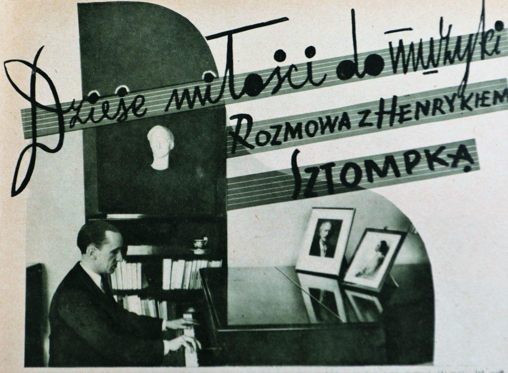 """Henryk Sztompka w swoim mieszkaniu przy ul. Rozbrat 28/30. Zdjęcie ilustrujące wywiad z artystą zamieszczony na łamach tygodnika """"Kino"""" z marca 1939 r."""