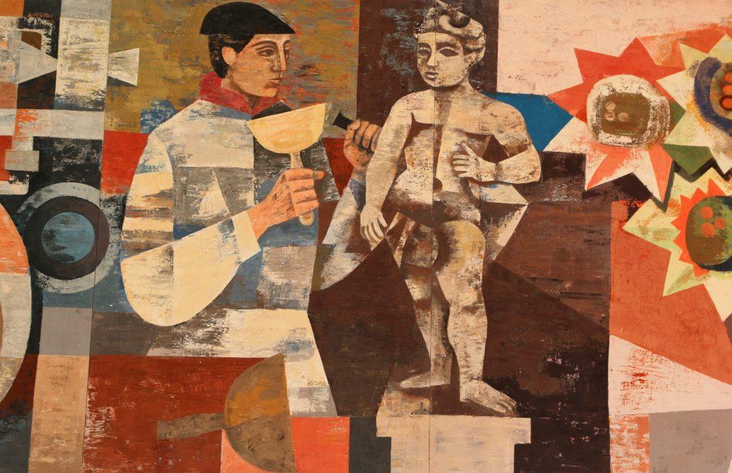 """Drezno. Kulturpalast. Fragment fryzu """"Nasze socjalistyczne życie"""", autorstwa Heinza Drache i Waltera Rehna. Rzeźbiarz odkuwający rokokowe putto. W roku 1963 zakończona została rekonstrukcja Zwingeru zniszczonego w trakcie bombardowania w lutym 1945 r. Fot. Jerzy S. Majewski"""
