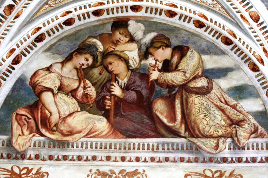 Trydent. Zamek Buonconsiglio. Loggia del Romanino. Girolamo Romanino. Scena w łuku lunety ukazująca kwartet muzyczny. Fot. Jerzy S. Majewski