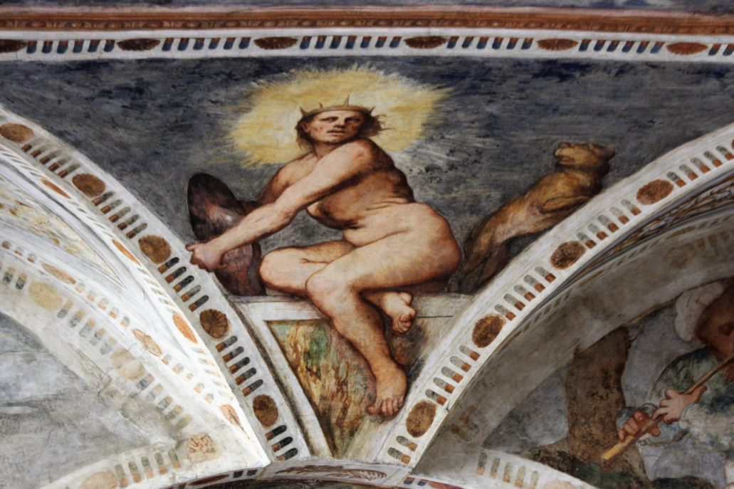 Trydent. Zamek Buonconsiglio. Loggia del Romanino. Girolamo Romanino. Wyobrażenie Słońca. Fot. Jerzy S. Majewski