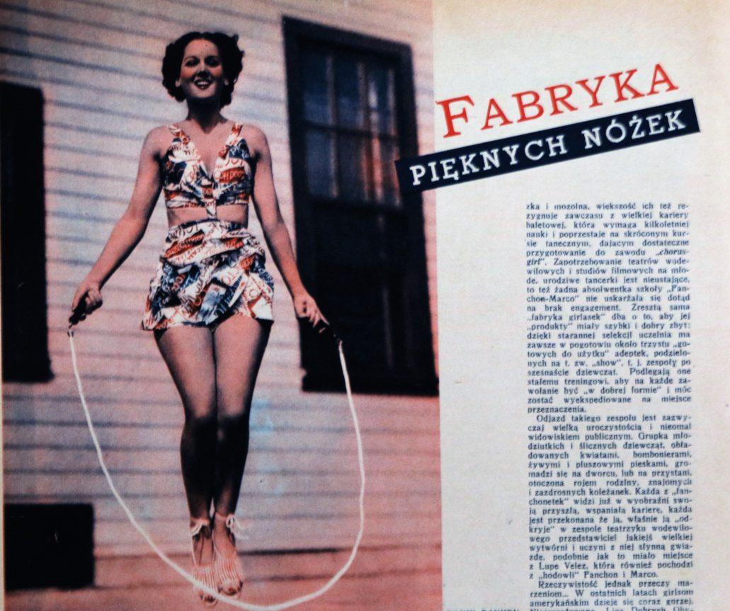 """Artykuł o """"fabryce pięknych nóżek"""", zamieszczony na łamach nr. 1 z 1937 r. tygodnika """"Kino"""""""