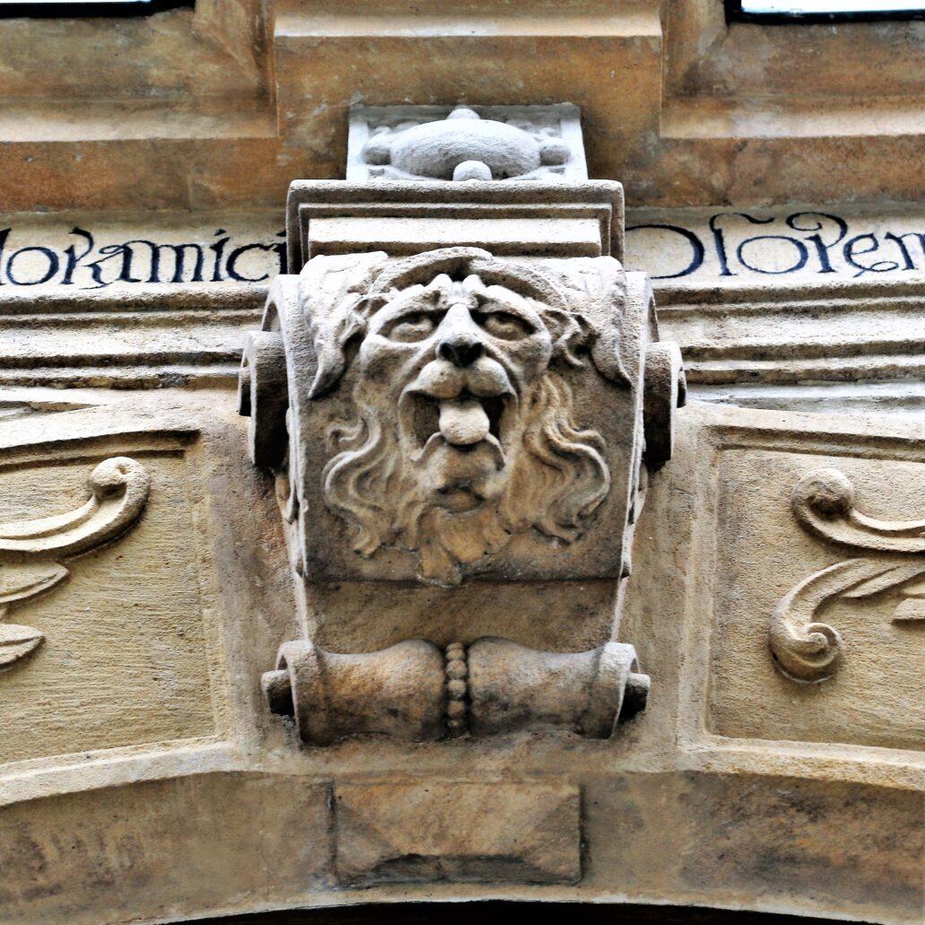 """Świdnica. Rynek 8. Kamienica """"Pod złotym chłopkiem"""". Łeb lwa w zworniku portalu. Symbol strażnika domu. Jednak w kontekście symboli śmierci i przemijania lew w zworniku może się również odnosić do Chrystusa i Zmartwychwstania. Jak pisał J. Cooper w książce """"Zwierzęta symboliczne i mityczne"""", w bestiariuszach lwy stały się postawą wykładów moralizatorskich. Jak wierzono """"tak jak lwica po wydaniu na świat martwych lwiątek przez trzy dni nie spuszcza ich bacznego oka, póki nie pojawi się lew i rykiem nie tchnie w nie życia, tak Wszechmocny Ojciec wskrzesił Pana Naszego Jezusa Chrystusa spomiędzy umarłych i wskrzesi nas do żywota wiecznego"""". Fot. Jerzy S. Majewski"""