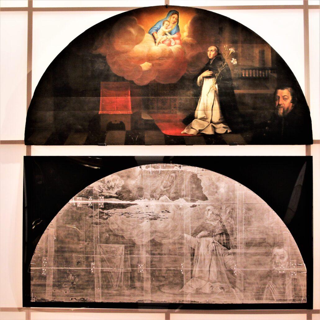 Tomasz Dolabella. Matka Boska ukazująca się św. Jackowi. 1619-1625. Jeden z szeregu dużych obrazów wykonanych przez Dolabellę dla kościoła i klasztoru dominikanów w Krakowie. Na zdjęciu poniżej uwidocznione zostały liczne przemalowania. Postać w lewym dolnym rogu to być może donator fundujący obraz. W roku 1618 Dolabella nawiązał współpracę z krakowskimi dominikanami, dla których pracował z przerwami przez kolejne trzy dekady. Obraz św. Jacka powstał z przeznaczeniem dla kaplicy św. Jacka Odrowąża, pierwszego polskiego świętego zakonu i jest jednym z kilku przedstawień poświęconych temu świętemu. Fot. Jerzy S. Majewski