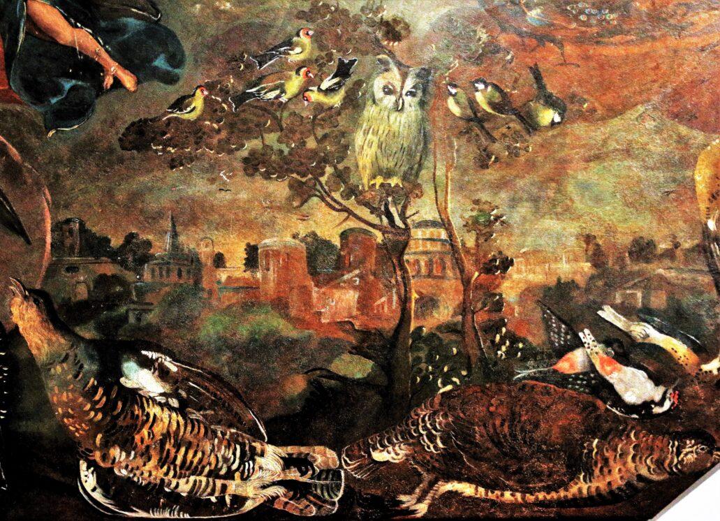 """Alegoria powietrza. Pałac Biskupów w Kielcach. Narożny obraz ze stropu w Drugim Pokoju Senatorskim powstały w 1641 r. Wykonany przez zespół malarzy pod nadzorem Tomasza Dolabelli. Pałac w Kielcach jest jedyną w Polsce w pełni zachowaną, wczesnobarokową, """"przedpotopową"""" rezydencją magnacką z ocalałym wystrojem wnętrz. Fot. Jerzy S. Majewski"""