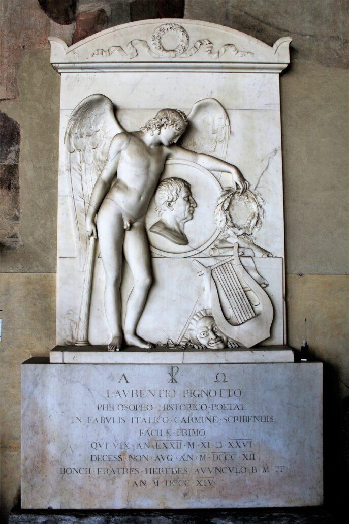 Piza. Campo Santo. Nagrobek Lorenzo Pignottiego, poety, historyka, filozofa, pizańskiego profesora fizyki i bajkopisarza, zmarłego w 1812 r. Fot. Jerzy S. Majewski