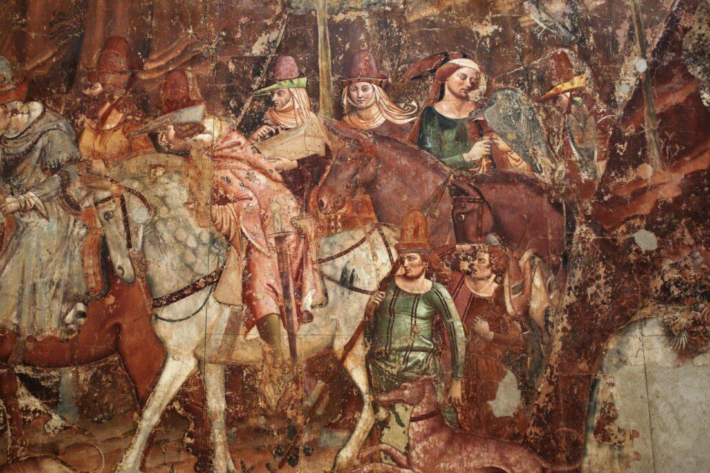 Piza. Campo Santo. Fragment malowidła Triumf Śmierci autorstwa Buffalmacco (Bonamico di Martino). Jedno z wybitnych dzieł włoskiego trecenta. Podobnie jak inne średniowieczne malowidła wypełniające krużganki (i w ogromnym stopniu zniszczone w 1944 r.), są one ilustracją wizji zawartych w Boskiej Komedii Dantego oraz kazań wygłaszanych przez dominikanina Domenica Cavalke. Fot. Jerzy S. Majewski