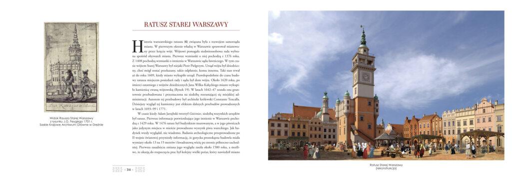 Strona z albumu Tomasza Kulsa z rekonstrukcją ratusza Starej Warszawy i fasad kamienic wokół Rynku. Materiały Skarpy Warszawskiej