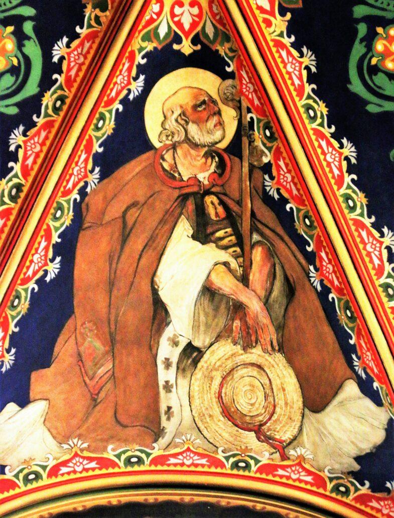 Sosnowiec. Katedra Wniebowzięcia NMP. Część świętych na sklepieniu nawy głównej wymalowana została w strojach ludowych. Fot. Jerzy S. Majewski