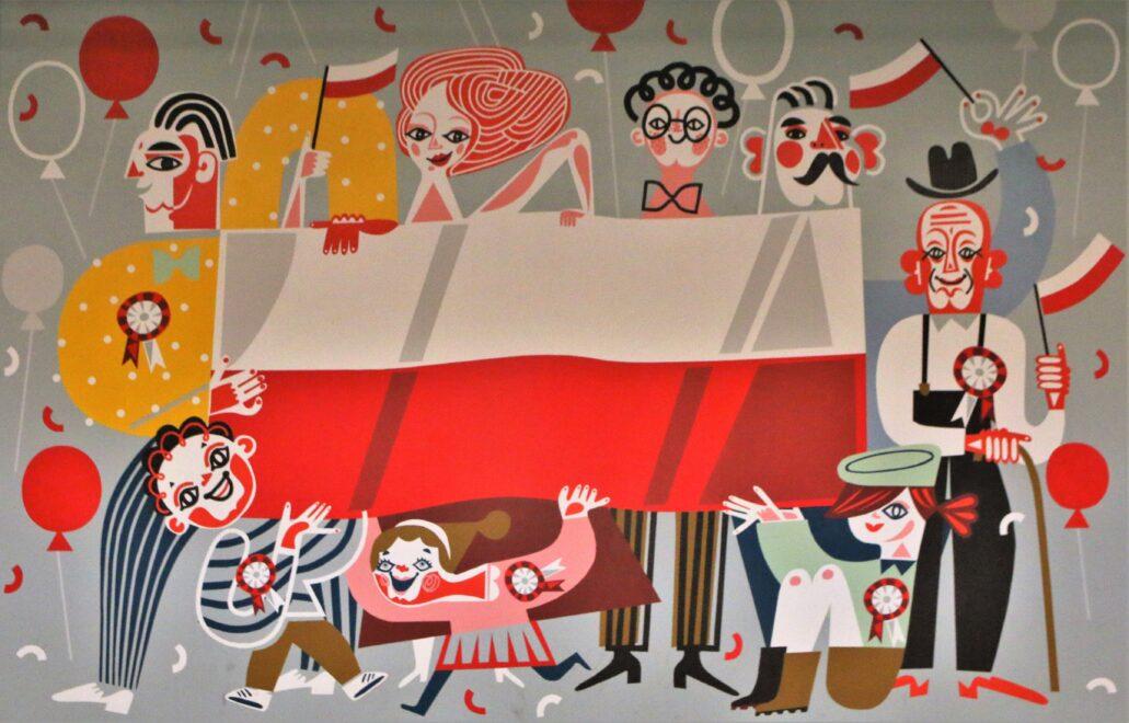 Łódź. Dworzec Łódź Fabryczna. Katarzyna Bogucka. Mural patriotyczny powstały w 2018 r. z okazji Dnia Flagi. Fot. Jerzy S. Majewski