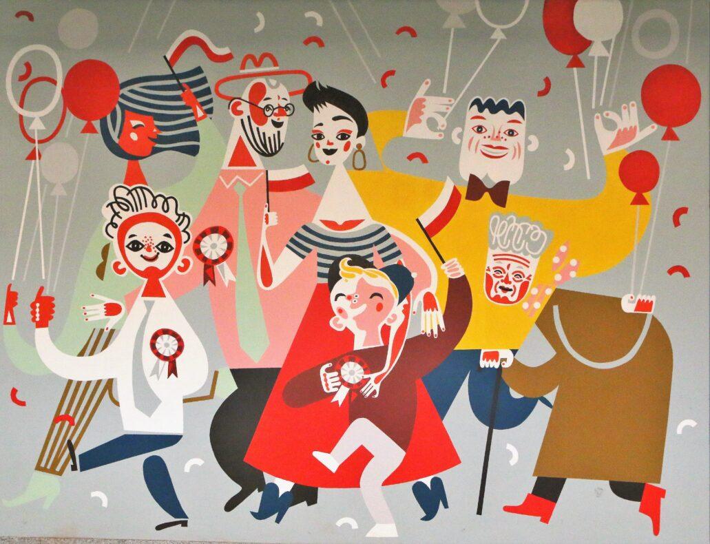 Łódź. Dworzec Łódź Fabryczna. Katarzyna Bogucka. Kolejny mural powstały w 2018 r. na Dzień Flagi. Fot. Jerzy S. Majewski