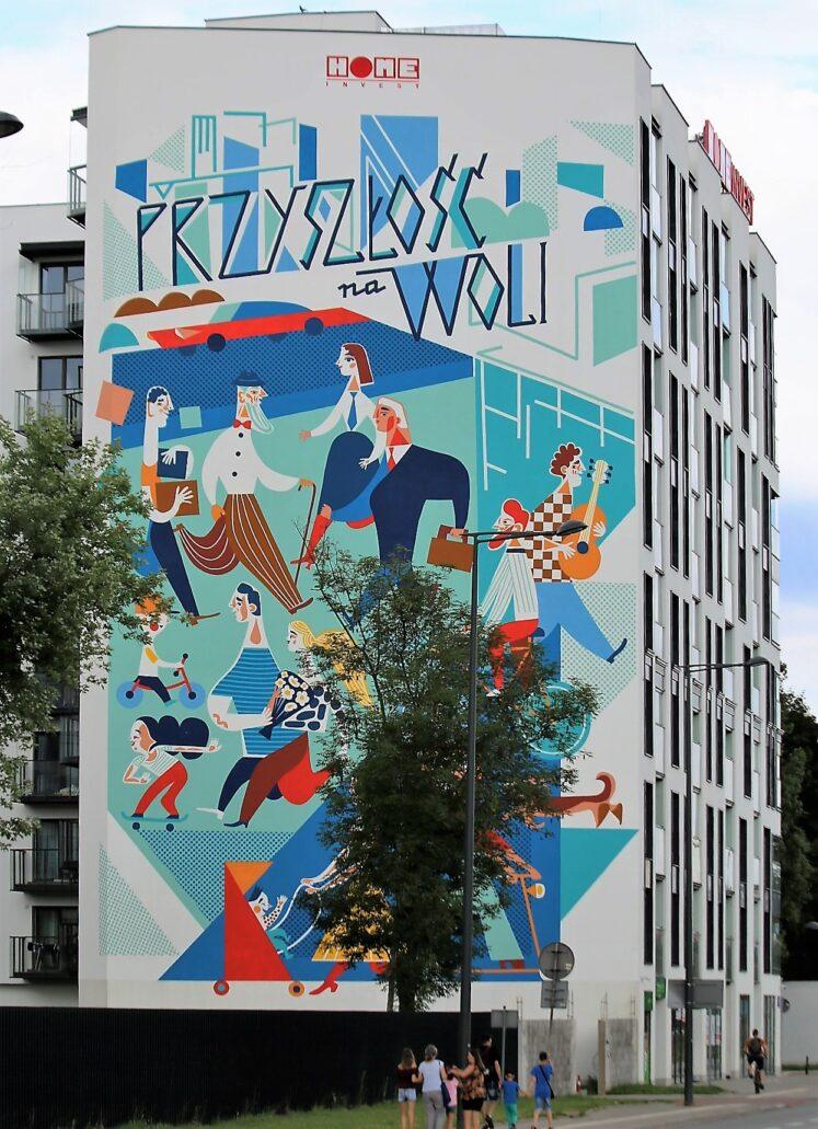 Warszawa. Okopowa 59A. Mural Katarzyny Boguckiej na ścianie szczytowej nowego biurowca. Fot. Jerzy S. Majewski