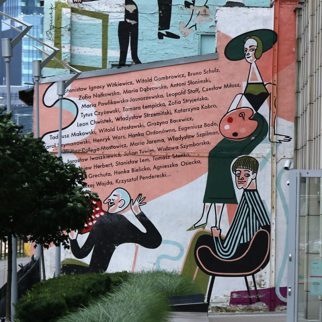 Warszawa. Prosta 49. Katarzyna Bogucka. Fragment muralu na ścianie szczytowej opuszczonej kamienicy. Fot. Jerzy S. Majewski