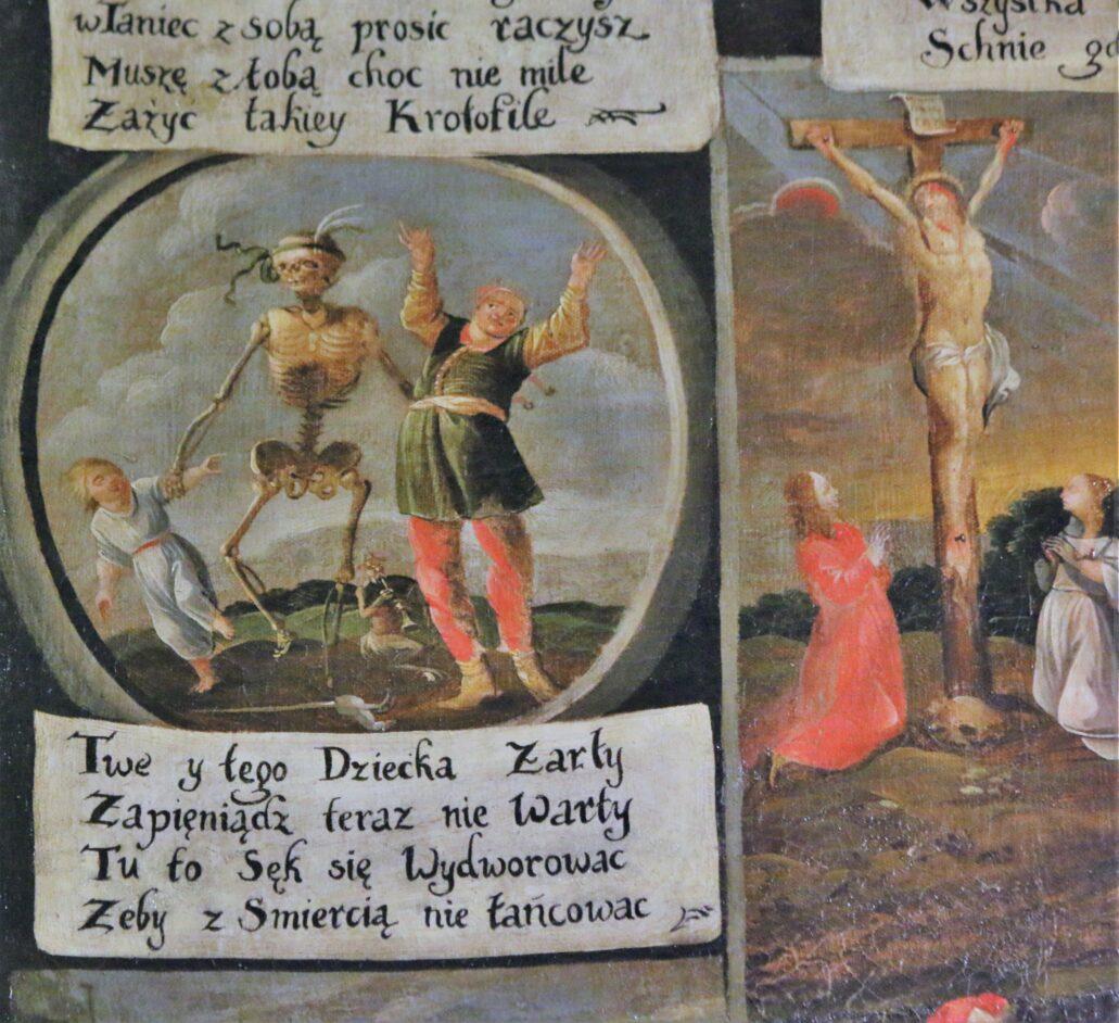 Fragment XVII-wiecznego Tańca Śmierci. Tańce Śmierci to przedstawienia charakterystyczne dla barokowych kościołów i klasztorów bernardyńskich. Ten znajduje się w krakowskim kościele Bernardynów. Fot. Jerzy S. Majewski
